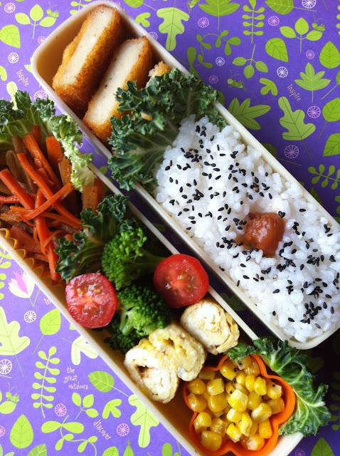 bento, 日の丸弁当、コロッケ、きんぴら