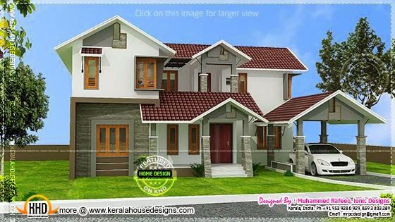 March 2014 kerala home design and floor plans for Slanted roof house plans