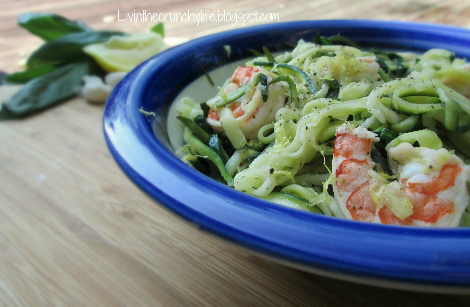 Lemon-Garlic Shrimp with Zucchini Noodles and Spinach