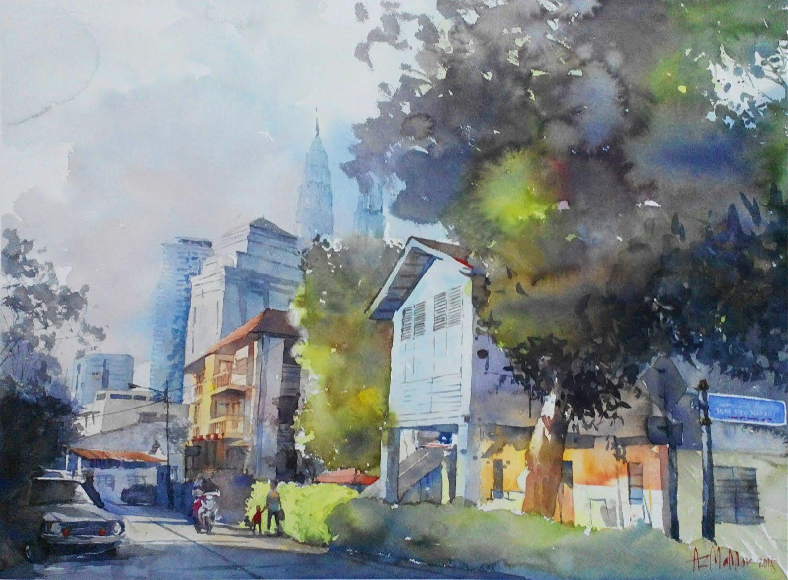 Watercolor: Sinar Kg. Baru (Lorong Haji Yaakob)