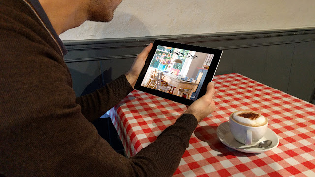Using Wealden Times iPad edition in a cafe