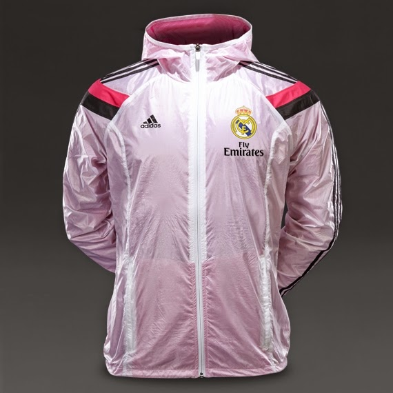 adidas Real Madrid 1415 Anthem Jacket White-Black-Pink