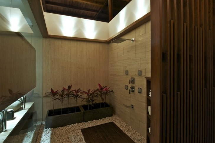 Shower in Courtyard Home by Hiren Patel Architects
