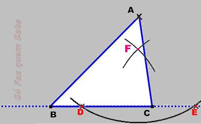Fazendo um arco com centro em E e definindo o ponto F para construir a altura do triângulo.