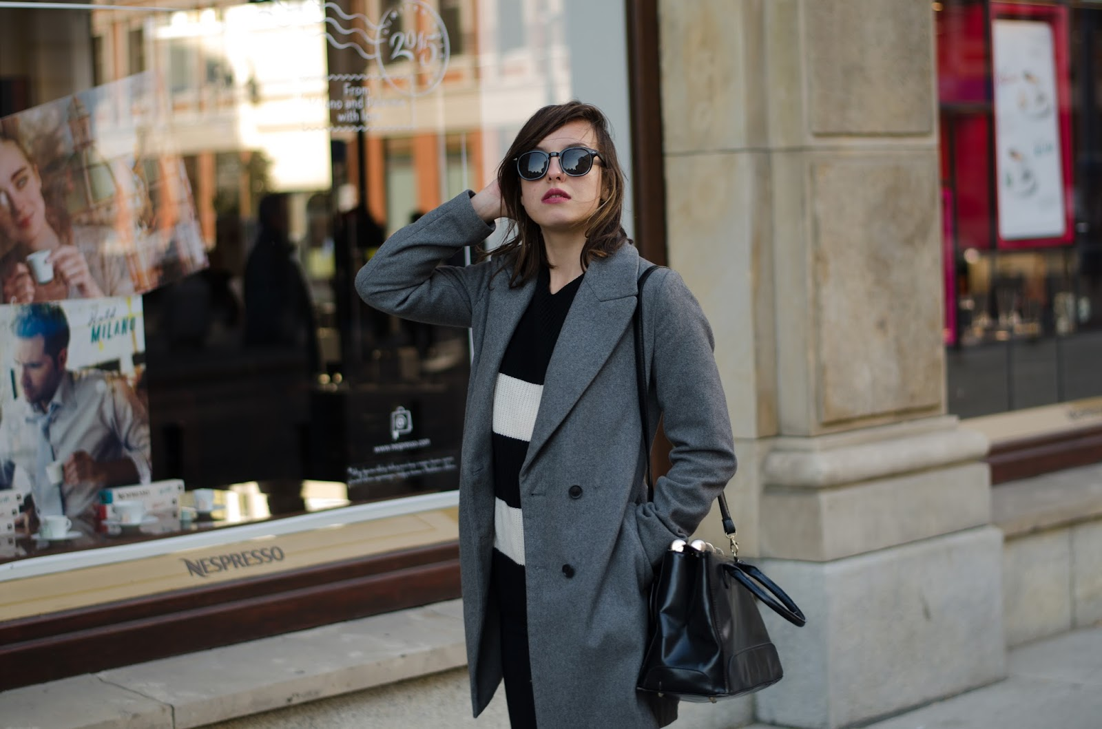 Simple Zara Gray coat, heavy boots, striped grunge sweater