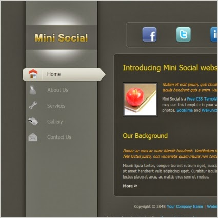 Mini Social Website Template,social template,mini template,social icon template