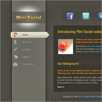Mini Social Website Template,social template,mini template,social icon template
