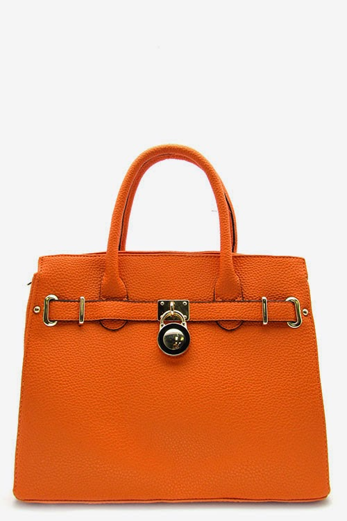 Orange Togo Padlock Satchel Handbag