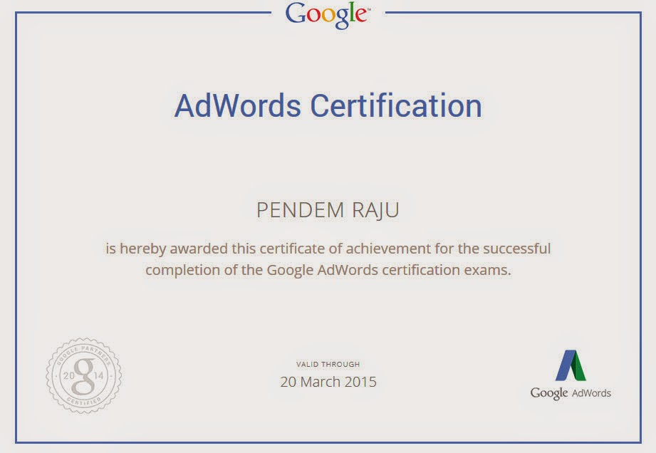 Pendem Raju Google Adwords Professional in Hyderabad India