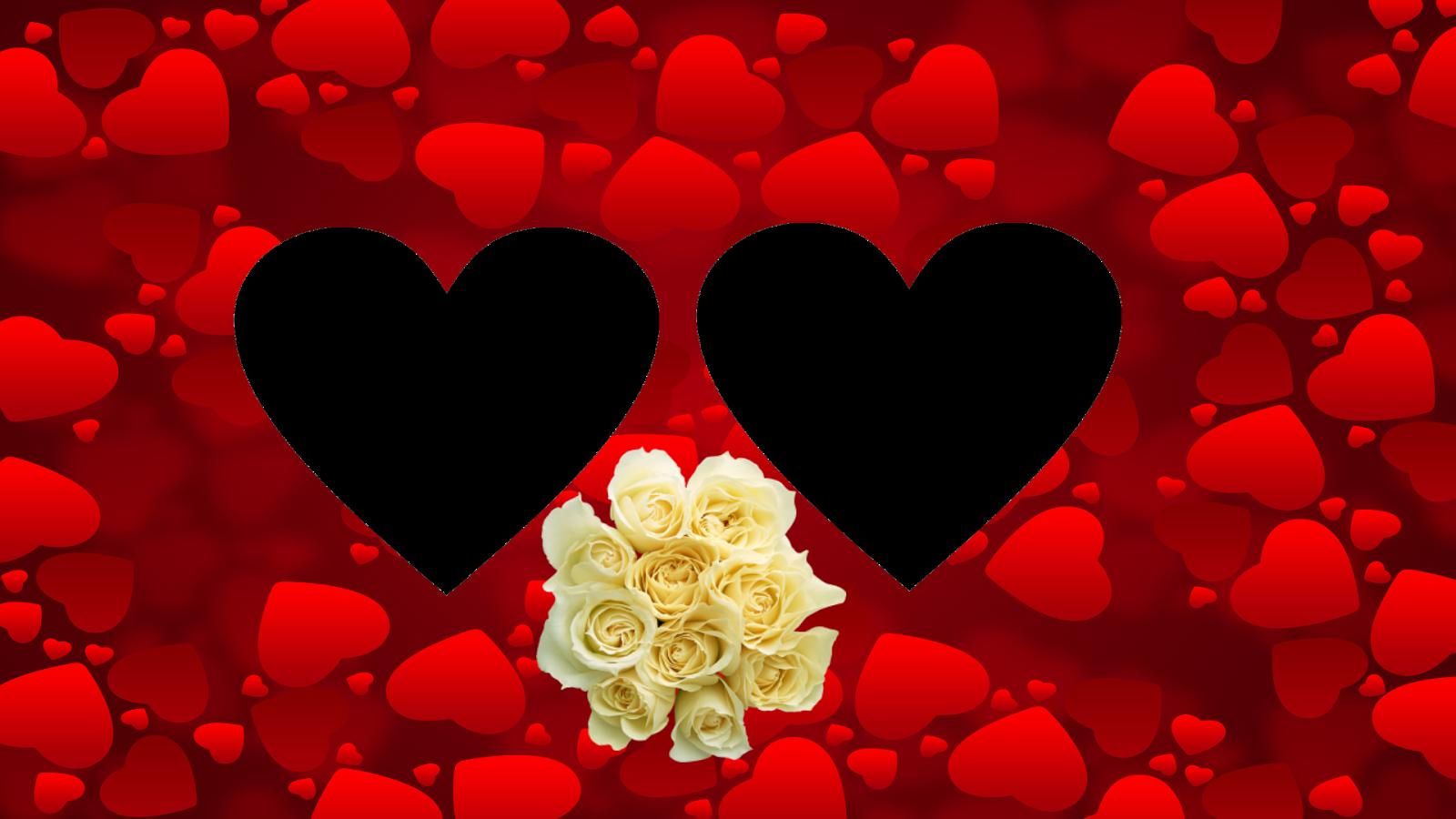 Coraçoes TR com ramo rosas_dia dos namorados png