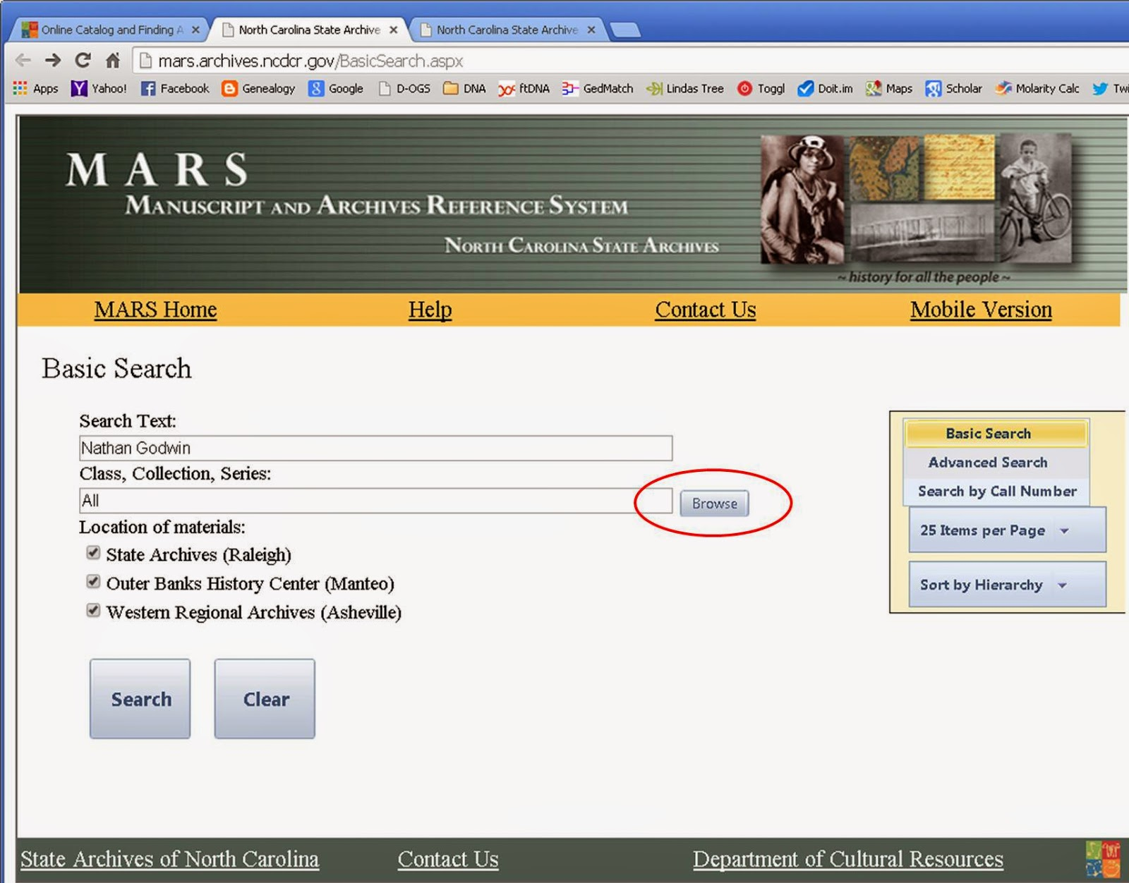 NC State Archives MARS Online Catalog Search