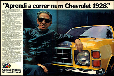 propaganda Chevrolet com Chico Landi - 1975;  brazilian advertising cars in the 70. os anos 70. história da década de 70; Brazil in the 70s; propaganda carros anos 70; Oswaldo Hernandez;