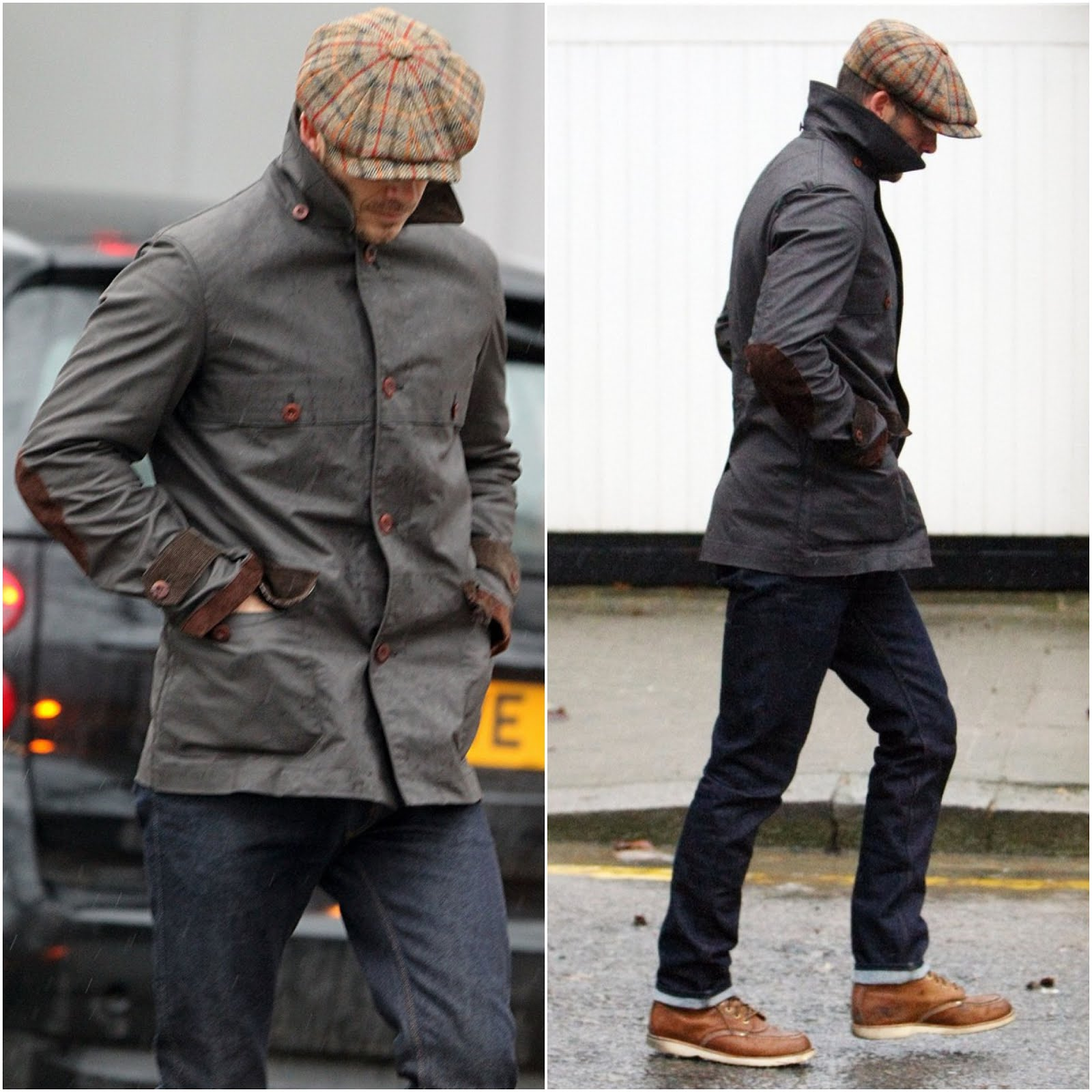 00O00 Menswear blog David Beckham in Junya Watanabe jacket - Out and about in London