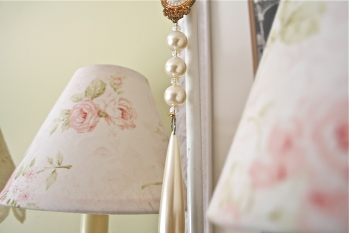 The polka dot closet layered lace and fabric covered lamp shade the second lamp i layered lace over the shade aloadofball