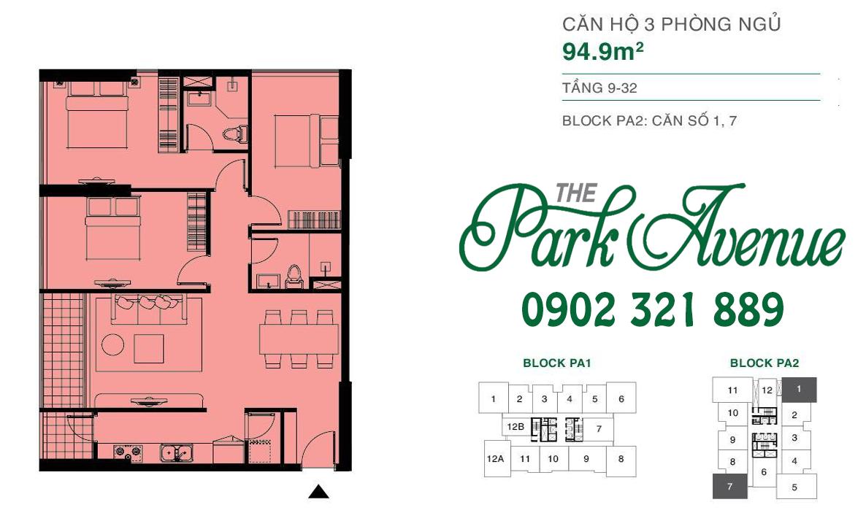 THE PARK AVENUE: Mặt bằng căn hộ 3 PN - 94.9m²