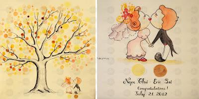 tranh in dấu vân tay đám cưới,tranh in dấu vân tay wedding tree