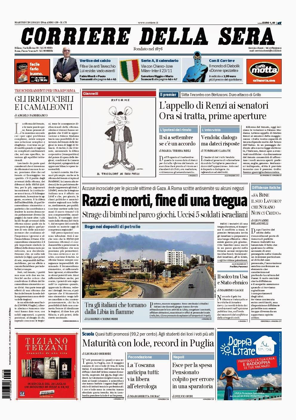 Il corriere della sera del 29 luglio 2014 editalia for Corriere della sera arredamento