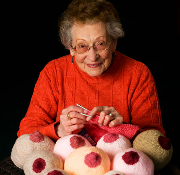 Get Knitting Grandma : Knitted breasts made by year old woman