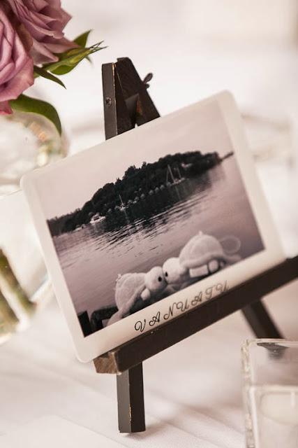 Wedding postcard table names - on our wedding day