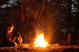 Ben at the Campfire - photo by Mike Gilpin and Benjamin Akira Tallamy