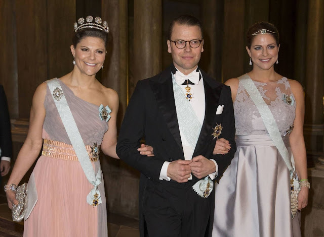 Swedish Royal Family attends a gala dinner at Royal Palace