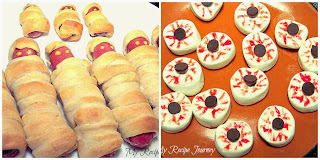 Mummy Dogs and Monster Eyes - Halloween Food
