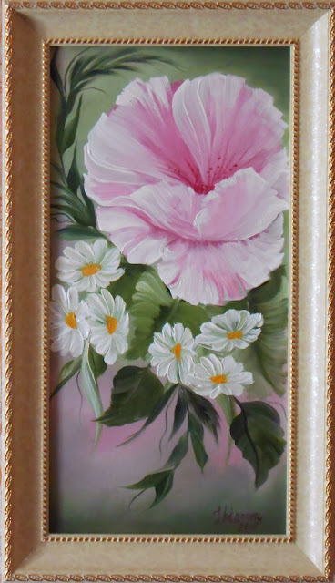 "Original oil painting ""Wild rose with camomiles"". For the most powerful effect of this Painting  with a Rose better hang  on  the South West. It will attract into your life happy and pure love. http://painting.artistwebsites.com"