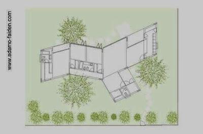 Dibujo de un plano de planta de la casa y la vegetación próxima