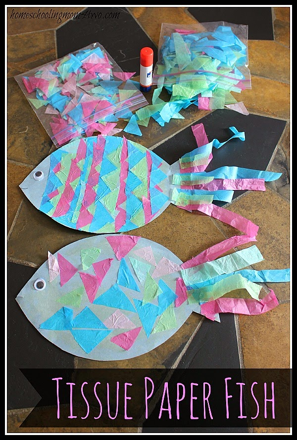 Construction Paper Fish with Tissue Paper Scales