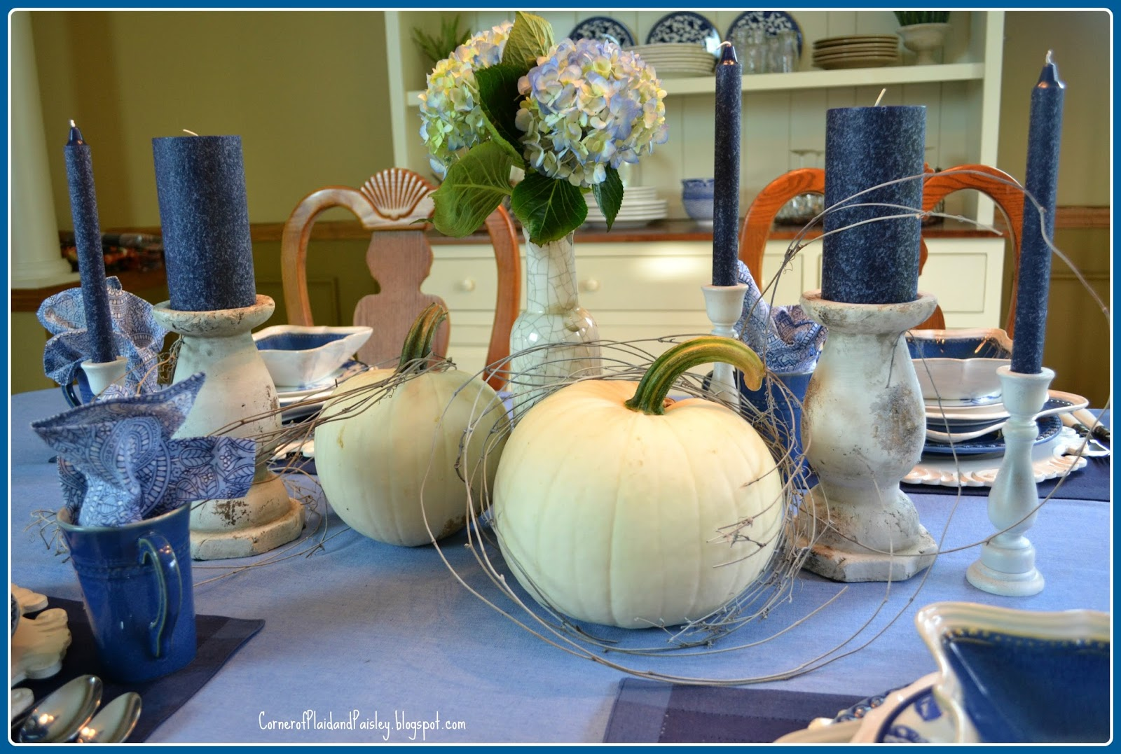 Corner of plaid and paisley denim blue and white fall for Denim centerpieces
