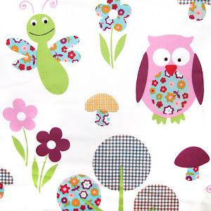 Tela Buhos y flores