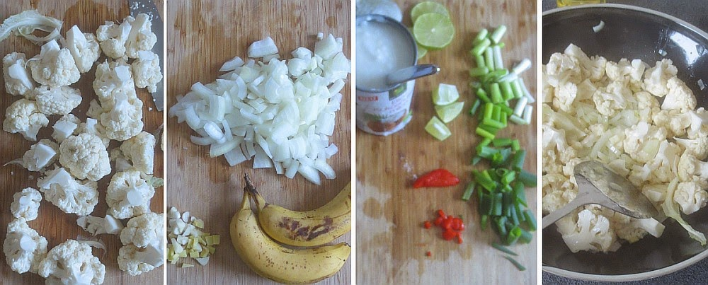 Zubereitung Blumenkohl-Bananen-Curry