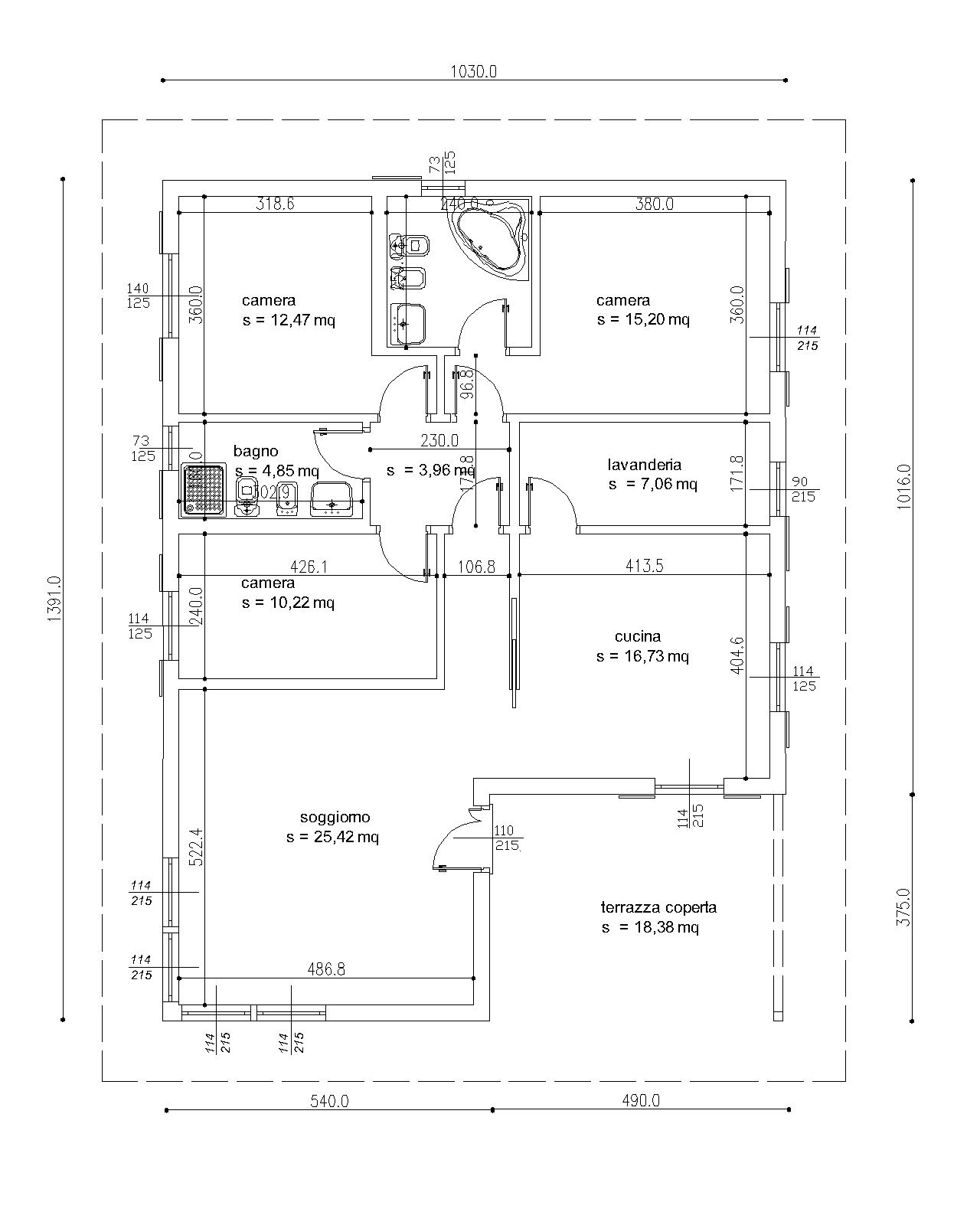 Progetti di case in legno casa 125 mq portico 18 mq - Progetto casa 100 mq ...