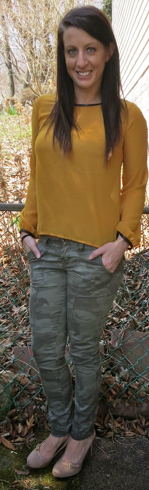 mustard shirt, camo pants, target, fashion, outfit