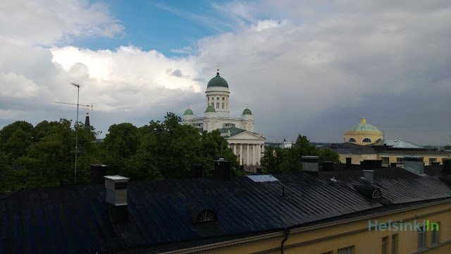 view from roof terrace at the University Library Helsinki