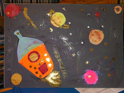 rocket and galaxy picture with glue and glitter