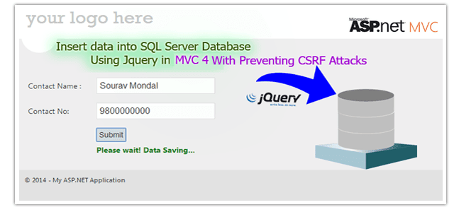 How to insert data into sql server databse using jquery with Preventing CSRF Attacks