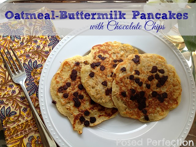 Oatmeal Buttermilk Pancakes with Chocolate Chips