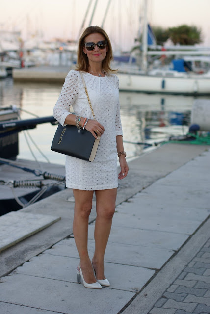 white sangallo lace dress, summer look, white lace mini dress, Mango dress, Moschino notes bag, Fabi pumps, Fashion and Cookies