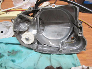 Clutch cover inside with oil pump gear Yamaha 100 LS3 1972