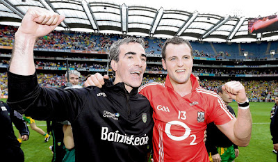 Donegal manager Jim McGuinness and Michael Murphy celebrate after the win at Croke Park on Sunday.