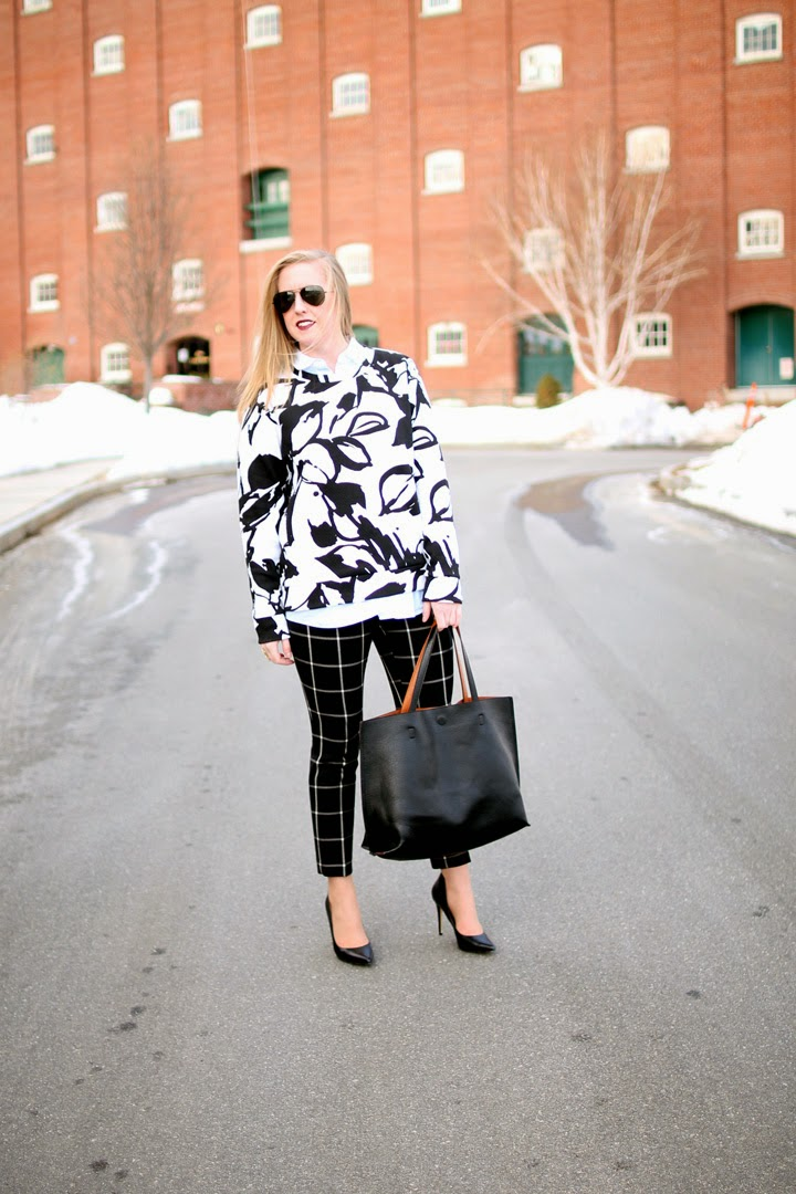 boston style blogger, loft window pane print pants, winter style, layered, fashion blogger style, ann taylor loft