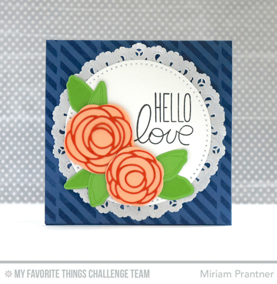 Hello Love Card by Miriam Prantner featuring the Miss Tiina I Love You More stamp set and the Lisa Johnson Designs Scribble Roses stamp set and Scribble Roses and Scribble Roses Overlay Die-namics #mftstamps