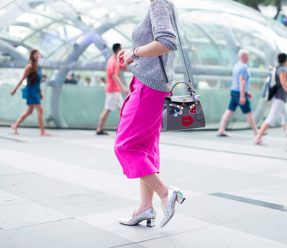 Crystal Phuong- Singapore Fashion Blog- Pink culottes and Playnomore shy girl handbag