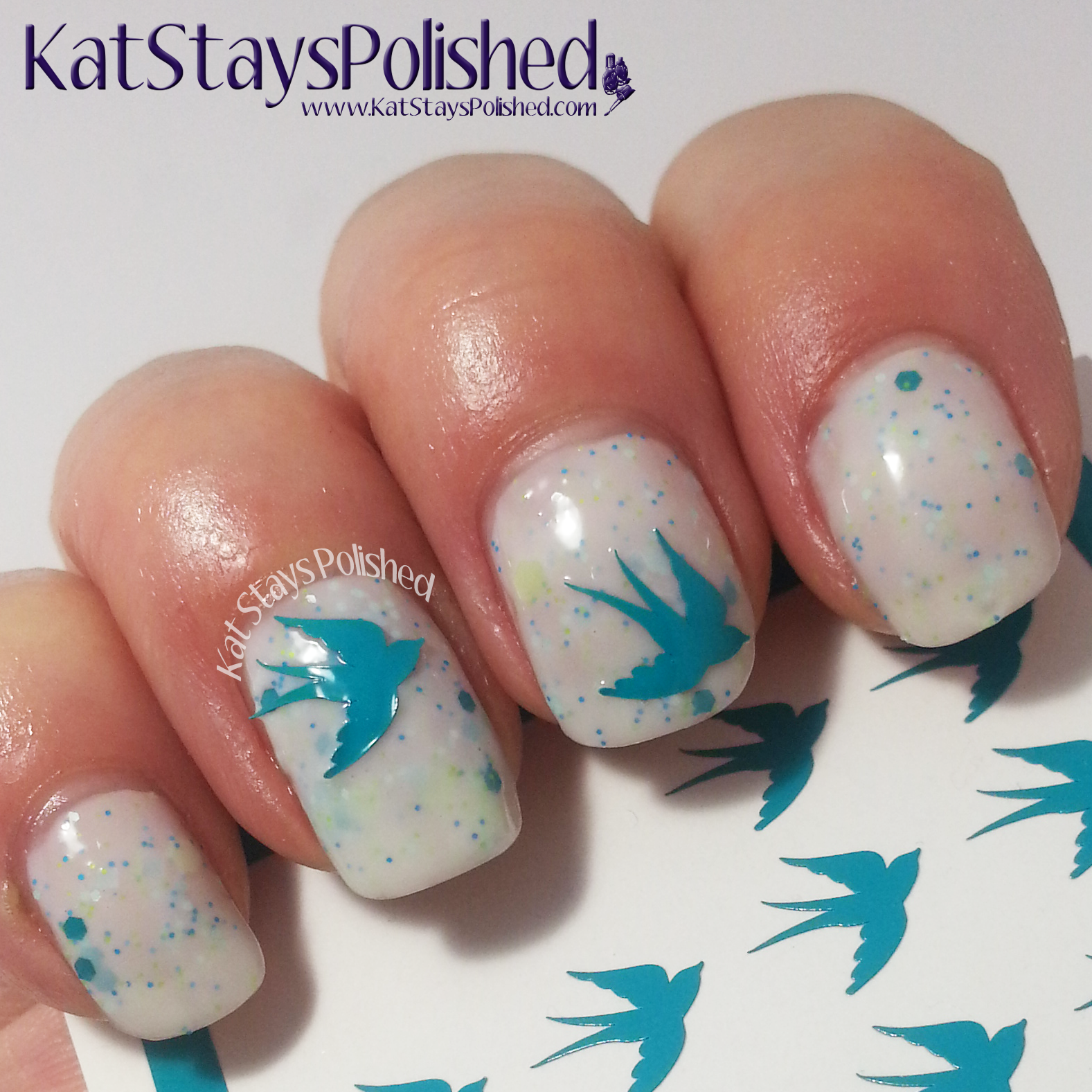 You Polish Nail Decals | Creations by Lynda Mint Orchid | Kat Stays Polished