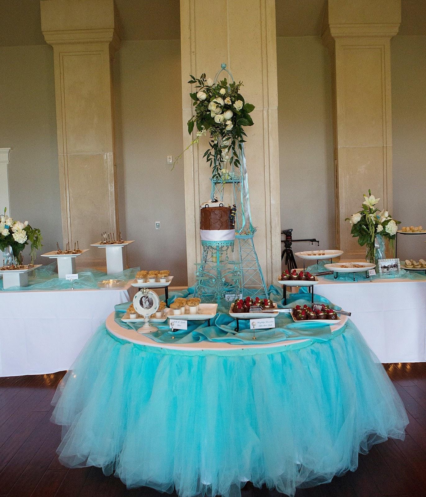 Wedding Reception Dessert Table: An Aqua French-Inspired Wedding Reception