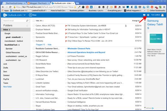 Outlook.com Settings Gear Button
