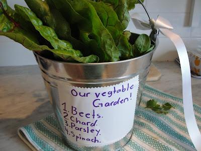teacher gift of veggies from garden in metal bucket