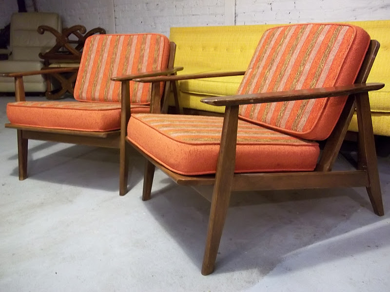 A Pair Mid Century Danish Style Lounge Chairs   $425