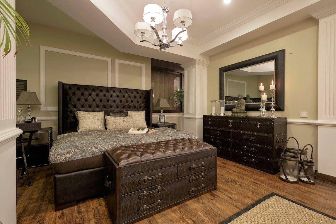 wooden and leather bedroom concept